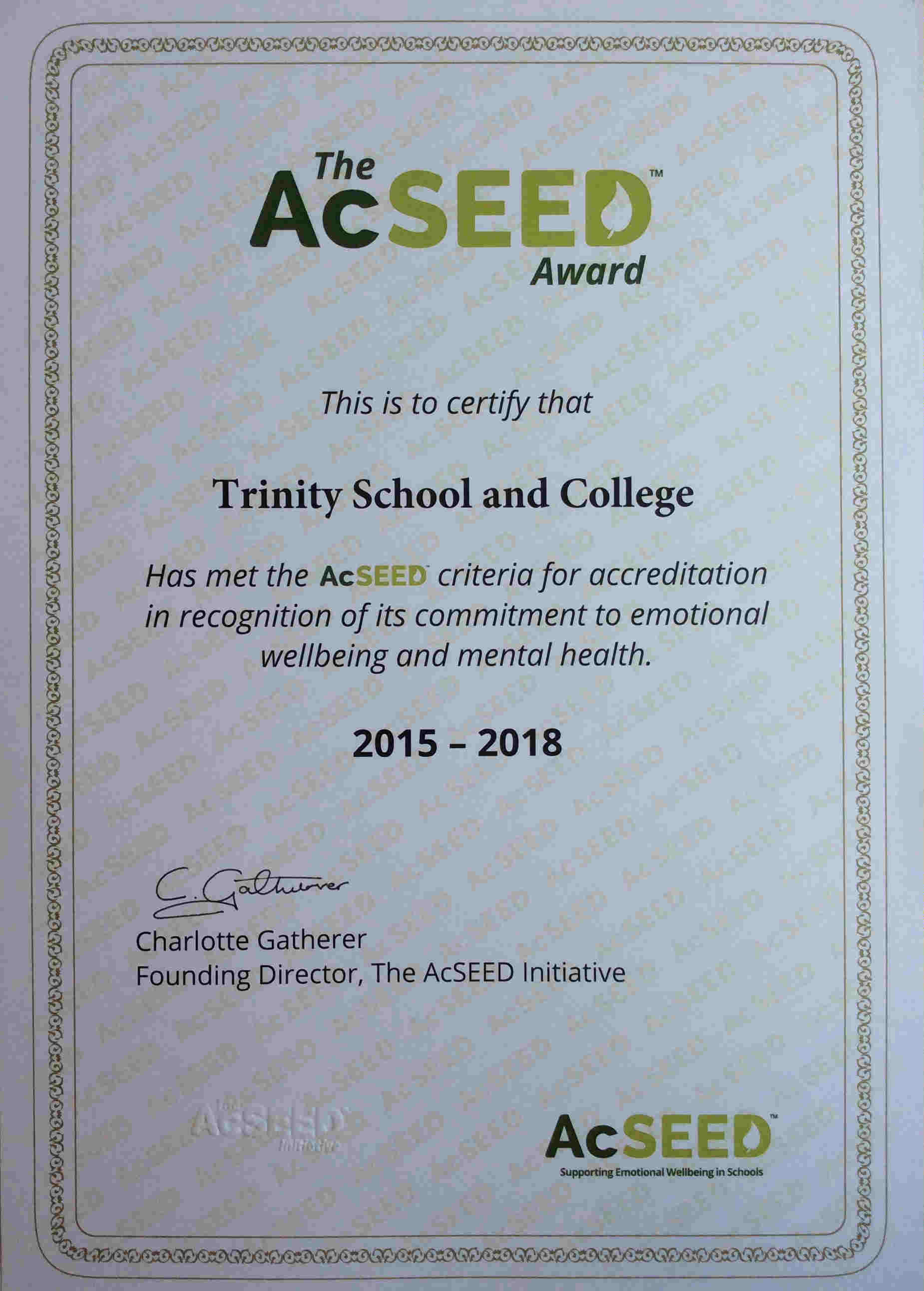 Trinity certificate